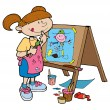 Girl happily painting on an easel. — Stock Vector