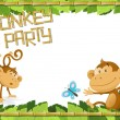 Stock Vector: Fun Monkey Party Jungle Border.