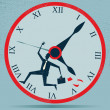 Abstract Businessman Running against the Clock — Stock vektor