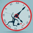 Abstract Businessman Running against the Clock — Stockvectorbeeld