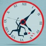 abstracte zakenman uitgevoerd tegen de klok — Stockvector