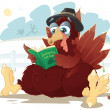 Thanksgiving turkey reading a cookbook — Stock Vector