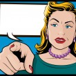 Pop Art Womwith Pointing Hand — Vector de stock #33147539