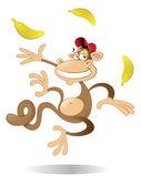 ジャグリング 3 つバナナ猿玩弄三个香蕉的猴子 — ストックベクタ