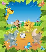 Djungel djur fotboll gränsen. — Stockvektor