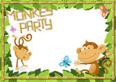 Fun Monkey Party Jungle Border. — Stock Vector