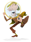 Cartoon Sherlock Holmes with a magnifying glass. — Stock Vector