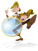 Sherlock Holmes Investigator with magnifying glass — Stock Vector