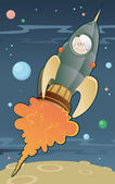 PrintRetro Space Rocket Lifts Off. — Stock Vector