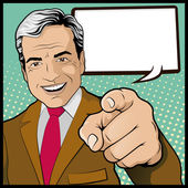 Man with Pointing Hand — Stock Vector