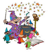 Wizard with his young Apprentices in Magic Workshop — Stock Vector