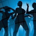Group of disco dancers — Stock Vector