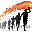 Stock Vector: Athletes with flaming torch.