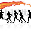 Stock Vector: Runners with flaming torch.