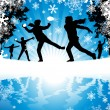 Vector de stock : Winter Snowball Fight.