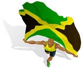 Vencedor da corrida jamaicano — Vetor de Stock