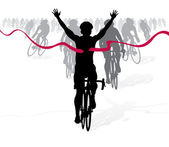 Cyclist crosses the finish line — Stock Vector