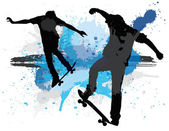 Young teens skating against — Stock Vector