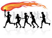 Runners with flaming torch. — Stock Vector