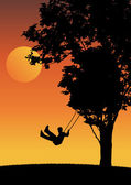 Child on swing in the sunset. — Stock Vector