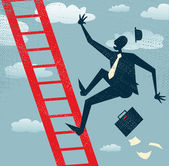 Businessman falls off the corporate ladder — Stock Vector