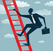 Abstract Businessman climbs up the Corporate Ladder. — Stock Vector