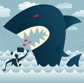 抽象的なビジネスマンの餌食巨大なサメに落ちる. — ストックベクタ