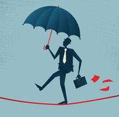 Abstract Businessman walks a precarious tightrope — Stock Vector