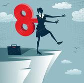 Abstract Clockwork Businesswoman walks off a cliff. — Stock Vector