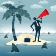 Abstract Businessman Calls for Help on an Island. — Stock Photo