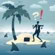 Abstract Businessman is trapped on an Island. — Stock Photo