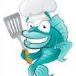 Stock Vector: Chef Fish with Spatula.