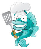 Chef Fish with Spatula. — Stock Vector