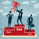 Businessman celebrates on Winning Podium. — Stock Vector