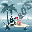 Businessman sends Smoke Signals on an Island. — Stock Vector #39441157
