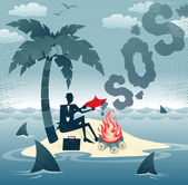Businessman sends Smoke Signals on an Island. — Stock Vector