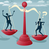 Businessmen balance on giant scales. — Stock Vector