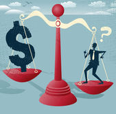 Businessman and Dollar Sign balance on giant scales. — Vettoriale Stock