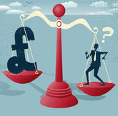 Businessman and Pound Sign balance on giant scales. — Vettoriale Stock