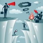Постер, плакат: Businessmen Cliff Top Miscommunication
