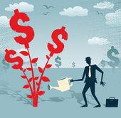 Businessman grows a Dollar Tree. — Stock Vector