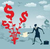 Businesswoman grows a Dollar Tree. — Stock Vector