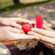 Close up of man making a proposal of marriage — Stock Photo