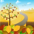 Autumn landscape and colorful leaves — Stock Vector