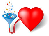 Red heart and funnel, pills — Stock Vector