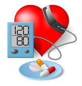 Heart - Blood pressure monitor and pills — Stock Vector
