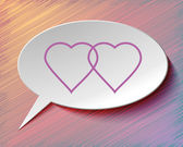 Speech bubble and hearts. — Vector de stock