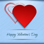 Valentine's card template - red hearts on blue background — Stok Vektör