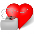 Pacemaker and red heart — Stock Vector