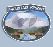 Mountain Resort sticker - polygonal — Stockvector